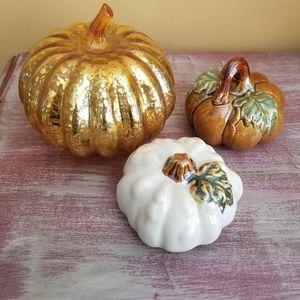 Glass Pumpkins Lot of 3 Fall Autumn Decor